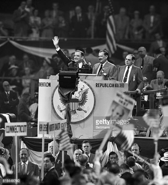 Chicago, Illinois- Senator Joseph McCarthy of Wisconsin waves to the throngs attending the GOP National Convention, waiting to address the meeting...