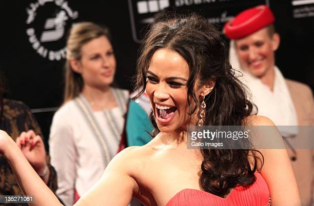 Actress Paula Patton poses on the red carpet during the 2011 Dubai International Film Festival on December 7 2011 in Dubai United Arab Emirates