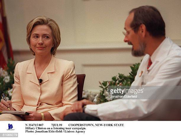 7Jul99 Cooperstown, New-York State Hillary Clinton On A Listening Tour Campaign.