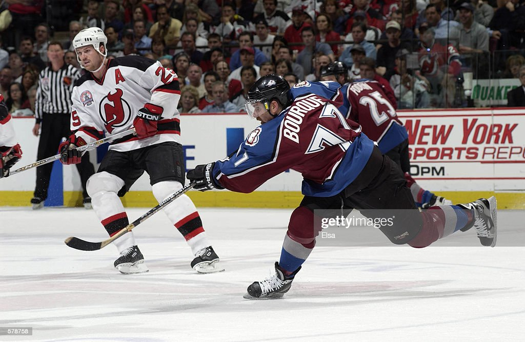 sports shoes 944a8 021f8 Ray Bourque of the Colorado Avalanche in action against the ...