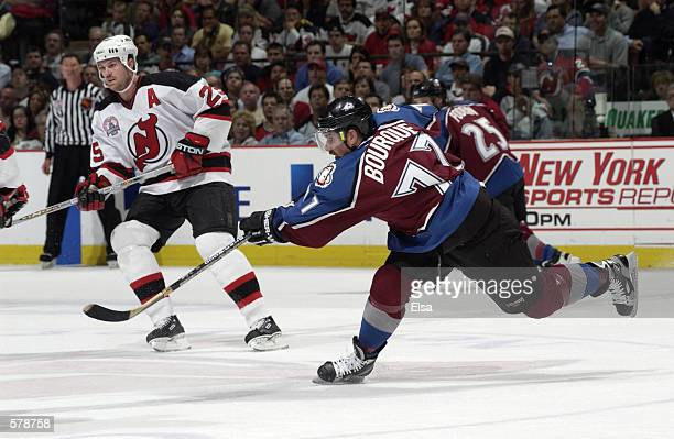 Ray Bourque of the Colorado Avalanche in action against the New Jersey Devils in game six of the NHL Stanley Cup Finals at Continental Airlines Arena...