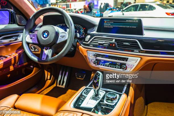 Series 745e plug-in hybrid luxury limousine interior on display at Brussels Expo on January 9, 2020 in Brussels, Belgium. The BMW 7 of the G11-12...