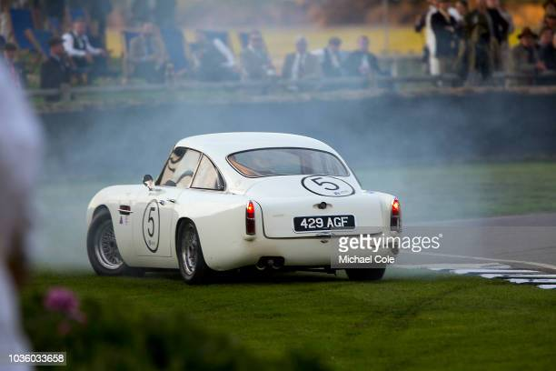 1960 Aston Martin DB4GT driven by Tom Alexander/Adrian Willmott spins off on the chicane during the Kinrara Trophy race during the 20th anniversary...