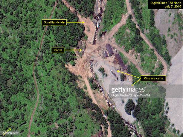 Figure 2 DigitalGlobe satellite imagery showing two mine ore carts present at the West Portal