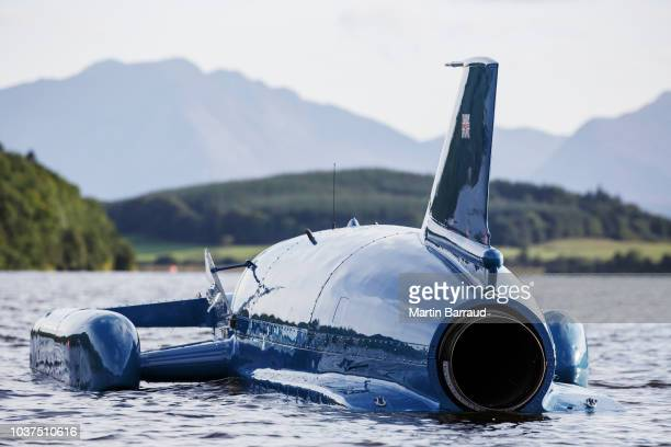 BUTE SCOTLAND AUGUST 7th 2018 Donald Campbell's iconic Bluebird on the waters of Loch Fad It was on the water for the first time for 50 years on...