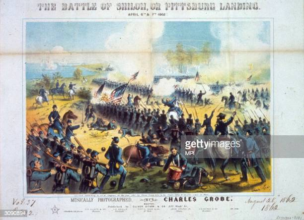 Union troops during the battle of Shiloh in Tennessee