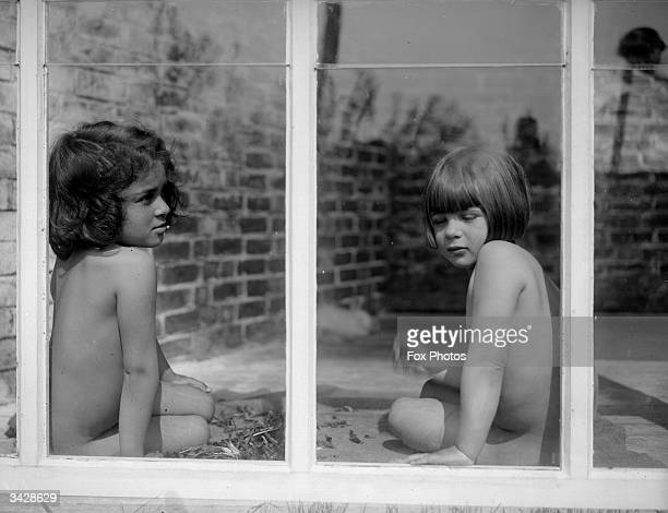 Two young nudists attend an open air school at Brackenhill Tunbridge Wells