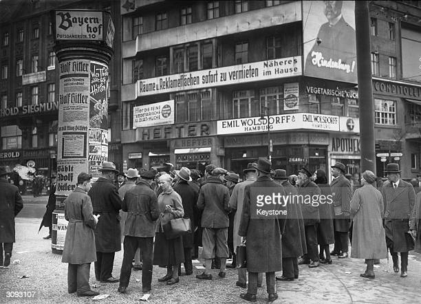Election posters at Potsdamer Platz Berlin for Paul von Hindenburg and Adolf Hitler during the runup to the second presidential elections