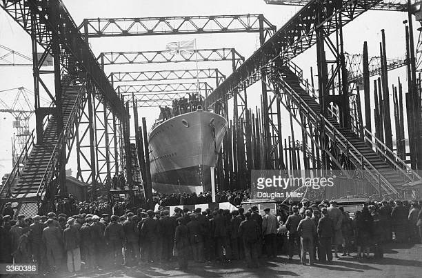 The launch of the destroyer HMS 'Defender' at VickersArmstrong shipyard at BarrowInFurness