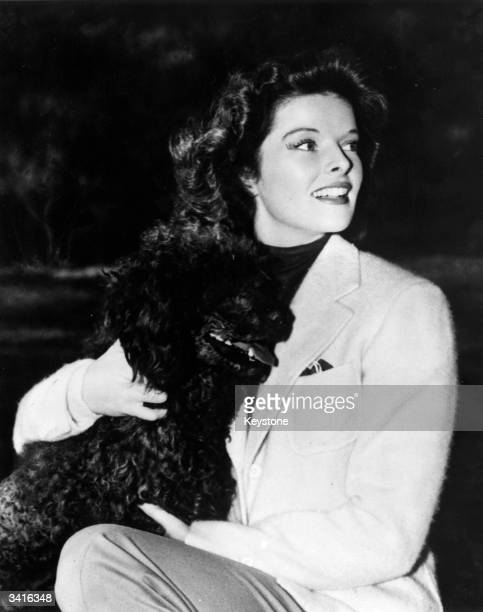 Film star Katharine Hepburn with her pet dog