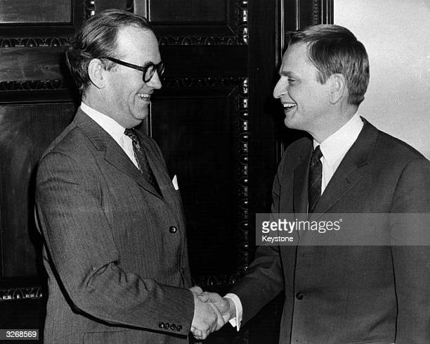 Olof Palme Prime Minister of Sweden and leader of the Social Democratic Party shakes the hand of George Thomson Chancellor of the Duchy of Lancaster