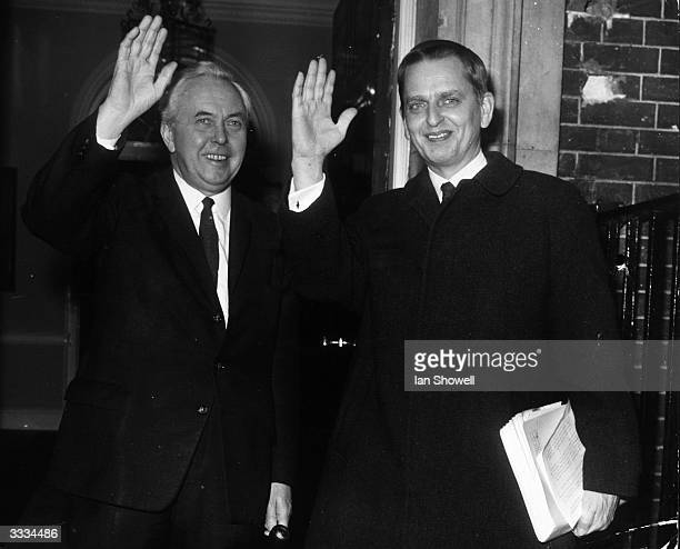 Prime Ministers Harold Wilson of Great Britain and Olof Palme of Sweden in the doorway of No 10 Downing Street
