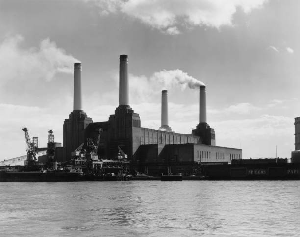 The four chimneys of Battersea Power Station on the...