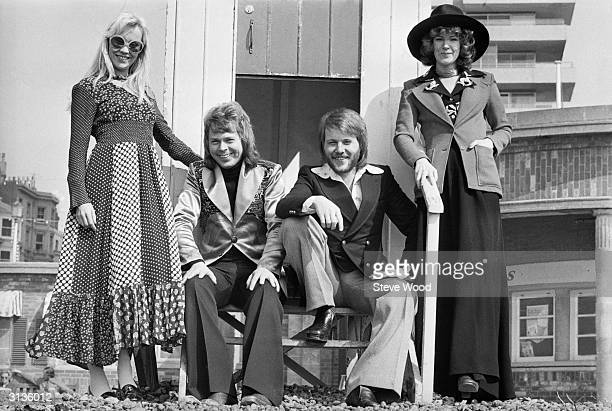 Swedish pop stars AnniFrid Lyngstad Benny Andersson Bjorn Ulvaeus and Agnetha Faltskog of the Swedish pop group ABBA