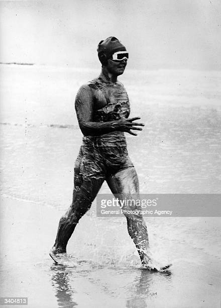 American Olympic gold medalist swimmer Gertrude Ederle enters the water for her crossChannel swim