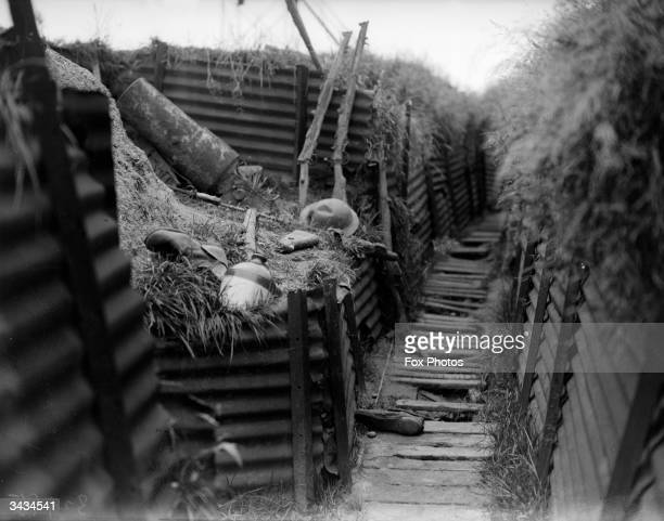 A deserted trench in Ypres Belgium site of three World War I battles