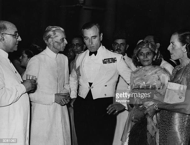 From left Pakistani prime minister Liaquat Ali Khan Muhammad Ali Jinnah Lord Louis Mountbatten Fatima Jinnah and Lady Mountbatten at a reception for...