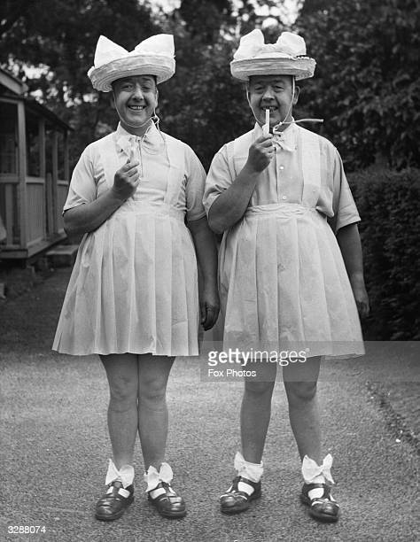 The Hardy twins entered the Tune Title contest at Gunton Hall Holiday Camp near Lowestoft dressed as 'Two Little Girls in Blue' and won first prize