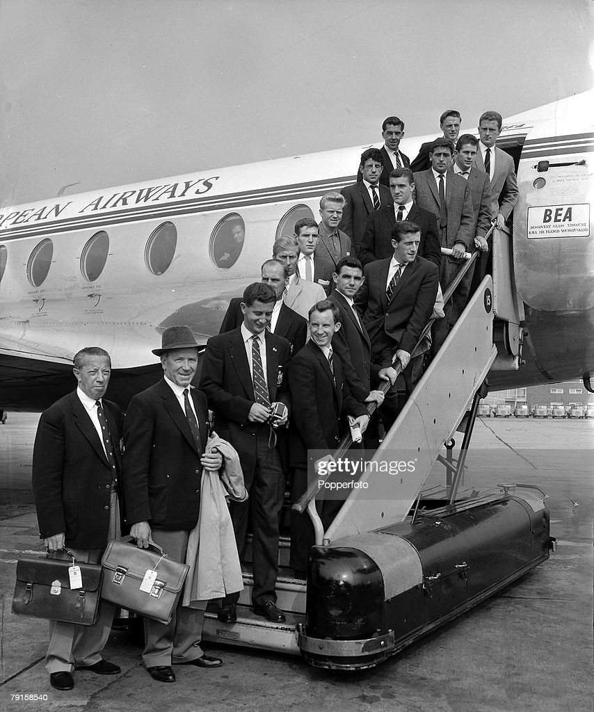 Manchester United Football Club led by manager Matt Busby (in hat) leaving London for Munich where they will play Bayern Munich, their first match abroad since the Munich Air Disaster.