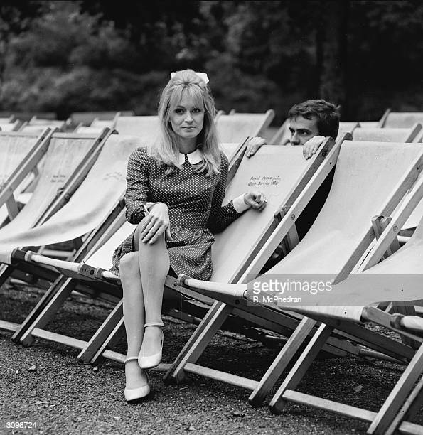 Model and actress Suzy Kendall with her husband the actor and comedian Dudley Moore in Hyde Park