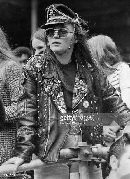 Wendy Sutcliffe aged 19 years in full biker gear at a Wembley pop festival London