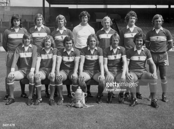 Members of the Middlesbrough team after their promotion to the First Division Alan Foggon P Brine David Mills Jim Platt David Armstrong Willie...