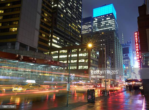 7th Avenue toward Times Square at night