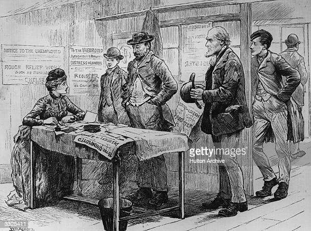 A group of unemployed men registering at an office in Chelsea London Original Publication Illustrated London News