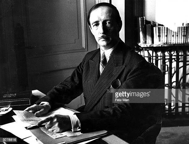 King Zog I originally Ahmed Bey Zogu King of the Albanians is at work at his office in London Original Publication Picture Post 346 Albania's Chance...