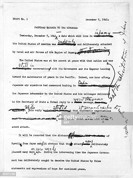 The first draft of President Franklin Delano Roosevelt's proposed message to the US Congress with his handwritten corrections urging a declaration of...