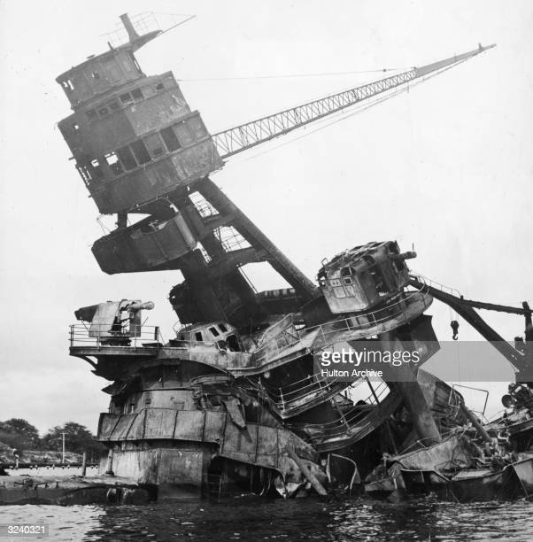 The mast of the destroyed battleship USS Arizona after the Japanese attack on Pearl Harbor Honolulu Hawaii