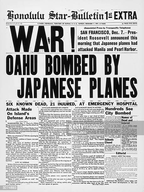 The newspaper tells of bombing in downtown Honolulu an hour and a half after the attack on Pearl Harbour by the Japanese airforce