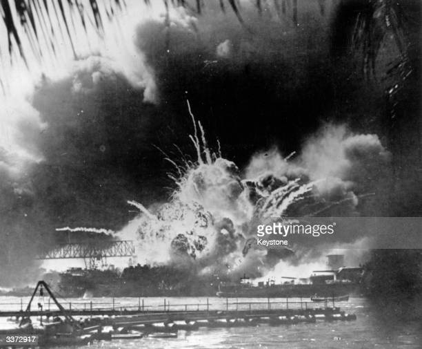The USS Shaw exploding during the Japanese attack on the US Pacific fleet at their base in Pearl Harbour on the island of Oahu Hawaii