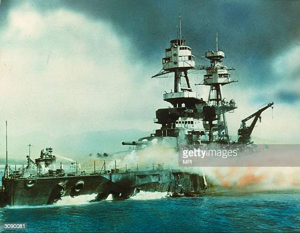 USS Nevada on fire in Pearl Harbour Oahu Island after the attack by the Japanese which brought America into WW II