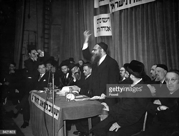 Palestinian Rabbi J M Levine speaking at the Garrick Theatre in London