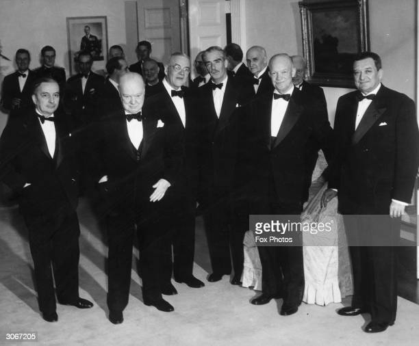 Present at a 'Big Three' Conference in Bermuda, l to r; French Minister of Foreign Affairs, Georges Bidault , British Prime Minister Sir Winston...