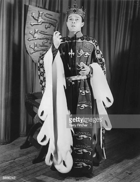 Richard Burton at the Old Vic theatre in London. He is in costume for his role as Henry V.