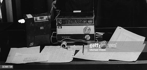 Equipment at Scotland Yard, which was found during a raid on the house of Kyriacos Costi at Finsbury Park, north London. It consists of hollowed-out...