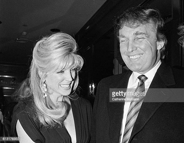 Donald Trump and Marla Maples pose for a photo at comedian Joey Adams' 80th birthday party on January 7 1991 in New York City New York 'n