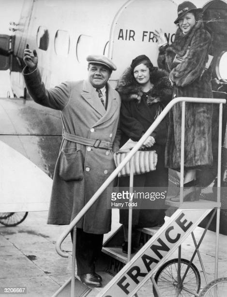 American baseball star Babe Ruth arrives at Croydon Airport near London on an Air France flight from Paris with his wife and daughter