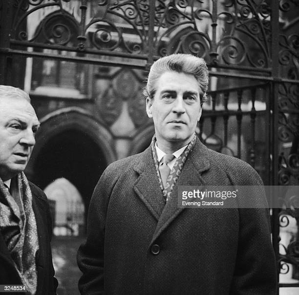 Irish actor Dermot Walsh leaving court after his divorce from his first wife the film actress Hazel Court