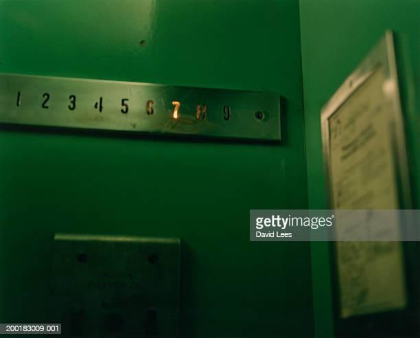 '7th' floor sign illuminated in lift