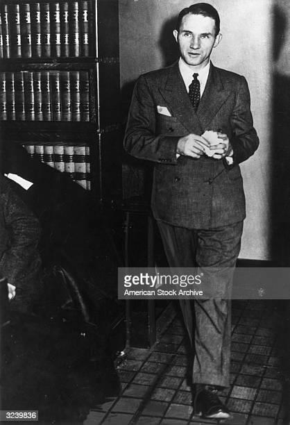 German criminal Bruno Hauptmann enters the courthouse where he was on trial for the Lindbergh baby kidnapping and murder trial Flemington New Jersey...