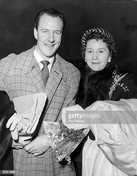 Odette Churchill nee Odette Hallowes a British wartime secret agent at the Waterloo Air Terminal with her new husband