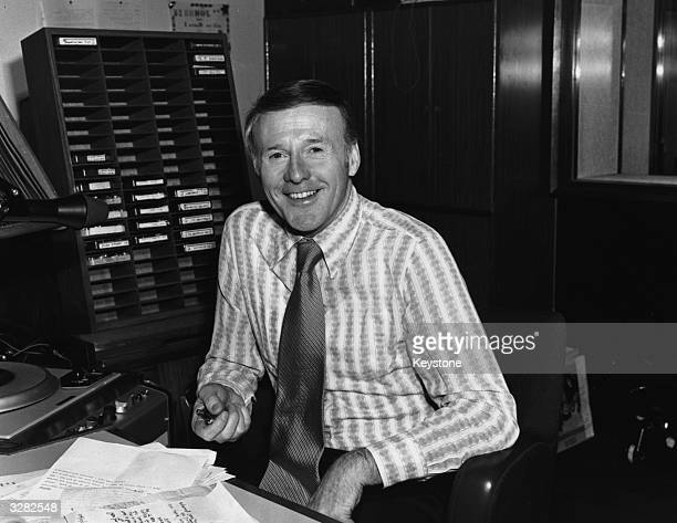 Jimmy Young the radio disc jockey in a recording studio
