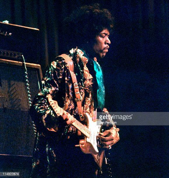 Jimi Hendrix performs live on stage at Tivoli Koncertsal Hall in Copenhagen Denmark on 7th January 1968