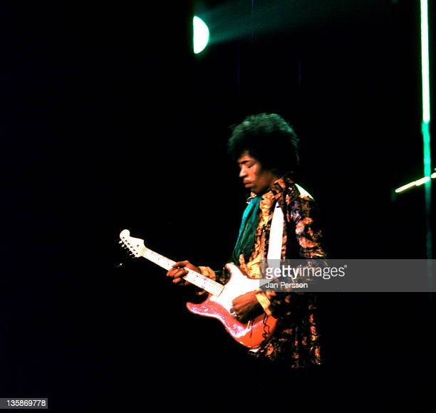 Jimi Hendrix performs live on stage at Tivoli Koncertsal Hall in Copenhagen Denmark on 7th January 1968