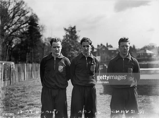 Scottish football internationals left to right W Thornton and S Cox of Glasgow Rangers with R Evans of Celtic