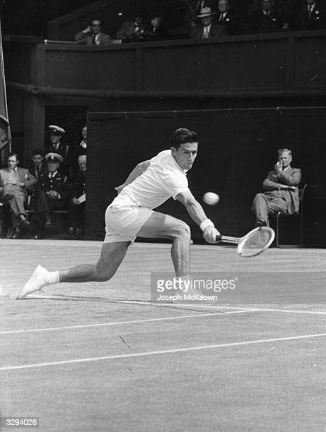 Australian tennis player Ken Rosewall in play on the centre court at Wimbledon Original Publication Picture Post 8544 Youth Gains the Centre Court...