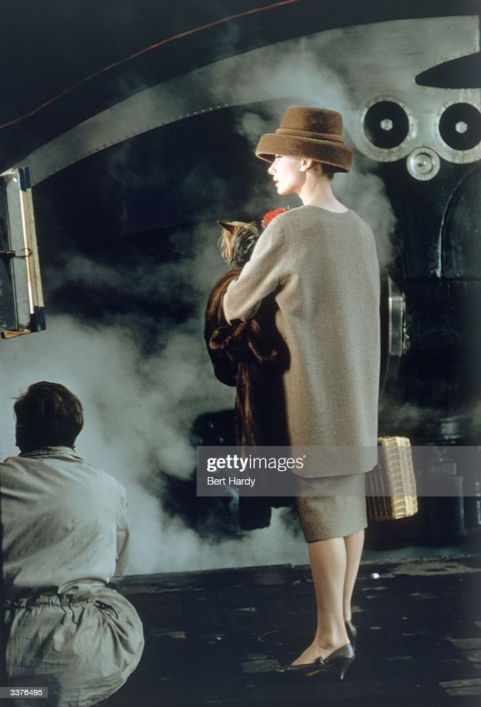 Belgian-born actress Audrey Hepburn (1929-1993) films a scene for the Paramount musical 'Funny Face'. Costumes by Givenchy. Original Publication: Picture Post - 8540 - Audrey Dances With Astaire - pub. 1957